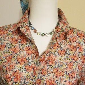 J Crew Liberty print/ fabric popover blouse